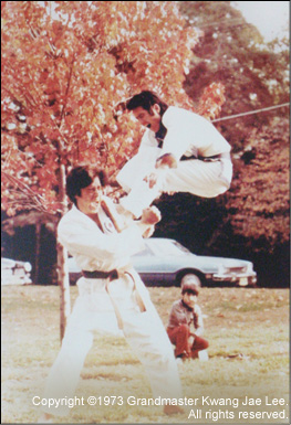 Grandmaster Lee demonstrates a flying front kick. —Bergenfield, NJ 1973