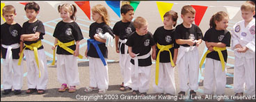 Students line up for Tae Kwon Do